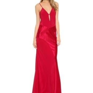 Michelle Mason Red Contrast Bias Slip Gown